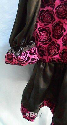 Sissy Short 26 Adult Baby Little Girl Black Rose on Pink Top Dress Satin Skirt