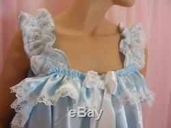 Sissy dress ADULT baby blue satin babydoll negligee nighty fancy dress unisex
