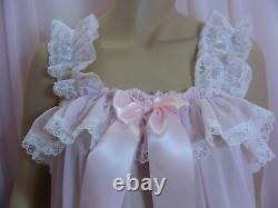 Sissy dress ADULT baby pink chiffon babydoll negligee nighty fancy dress cosplay