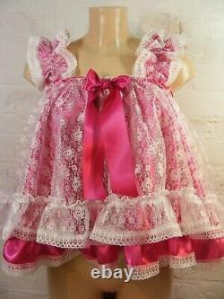 Sissy dress ADULT baby satin ddlg baby doll negligee nighty fancy dress cosplay