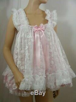 Sissy dress ADULT baby satin ddlg babydoll negligee nighty fancy dress cosplay
