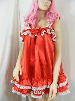 Sissy dress ADULT satin babydoll negligee nightie fancy dress maid cosplay CD TV
