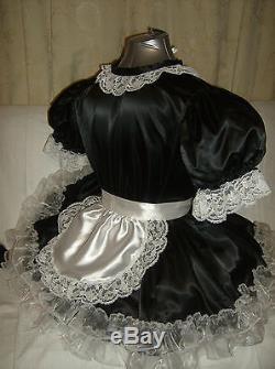 Sissymaids Adult Babyunisex Black Satin And White Lace Dress Nix Apron Outfit
