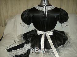 Sissymaids Adult Babyunisex Black Satin &white Lace Dress Nix Apron Outfit