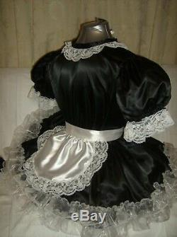 Sissymaids Adult Babyunisex Cd/tv Black Satin And White Lace Dress Outfit