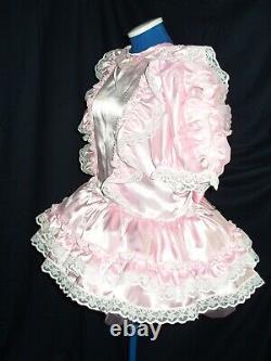 Sissymaids Adult Babyunisex Cd/tv Pink Satin And White Lace Dress