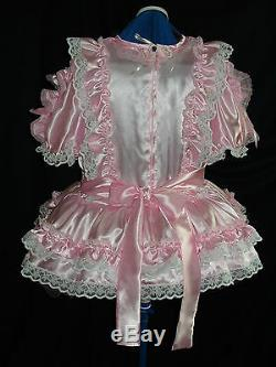Sissymaids Adult Babyunisex Cd/tv Pink Satin And White Lace Dress