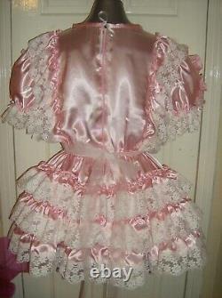 Sissymaidsadult Babyunisexcd/tv Baby Pink Satin And White Lace Dress