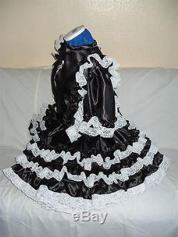 Sissymaidsadult Babyunisexcd/tv Black Satin And White Lace Dress
