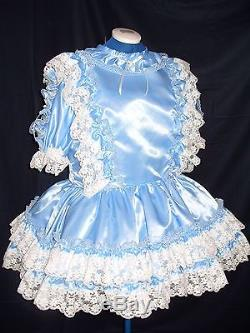Sissymaidsadult Babyunisexcd/tv Blue Satin And White Lace Dress