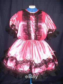 Sissymaidsadult Babyunisexcd/tv Bright Pink Satin & Black Lace Trim Dress