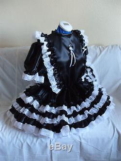 Sissymaidsadult Babyunisexcd/tv Fetish Black Satin And White Lace Dress