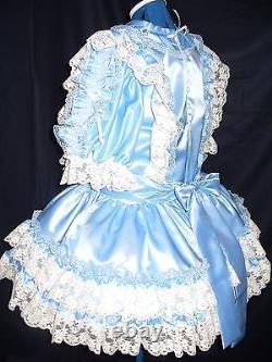 Sissymaidsadult Babyunisexcd/tv Fetish Blue Satin And White Lace Dress