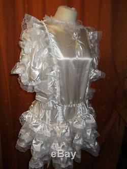 Sissymaidsadult Babyunisexcd/tv Fetish Ivory Satin And White Lace Dress