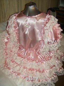 Sissymaidsadult Babyunisexcd/tv Fetish Pink Satin And White Lace Dress