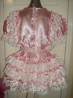 Sissymaidsadult Babyunisexcd/tv Fetish Pink Satin And White Lace Dress