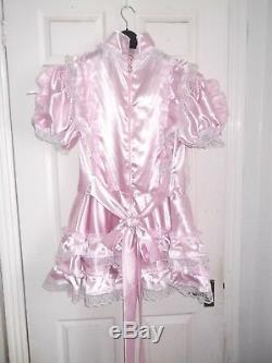 Sissymaidsadult Babyunisexcd/tv Lockable High Neck Pink Satin Dress
