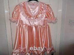 Sissymaidsadult Babyunisexcd/tv Peach Silky Satin & Lace High Waist Dress