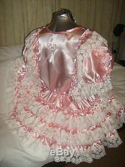 Sissymaidsadult Babyunisexcd/tv Pink Satin And White Lace Dress