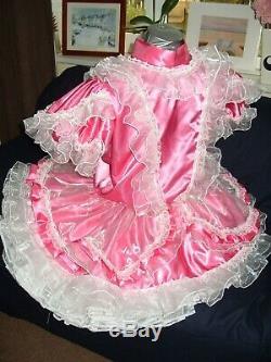 Sissymaidsadult Babyunisexcd/tv Pink Satin & White Lace & Organza Dress
