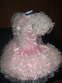 Sissymaidsadult Babyunisexcd/tv Pink Satin With Organza Ruffles Dress