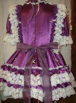 Sissymaidsadult Babyunisexcd/tv Purple Satin & White Lace & Bows Dress
