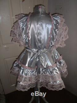 Sissymaidsadult Babyunisexcd/tv Silver Satin And Pink Lace Dress & Petticoat