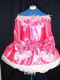 Sissymaidsadult Babyunisexcd/tvbardot Style Pink Satin White Lace Dress