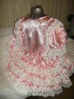 Sissymaidsadult Babyunisexcd/tvfetish Baby Pink Satin And White Lace Dress