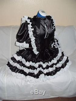 Sissymaidsadult Babyunisexcd/tvfetish Black Satin And White Lace Dress
