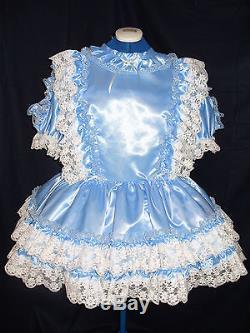 Sissymaidsadult Babyunisexcd/tvfetish Blue Satin And White Lace Dress