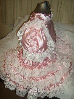 Sissymaidsadult Babyunisexcd/tvfetish Pink Satin And White Lace Dress