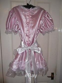 Sissymaidsadult Babyunisexcd/tvfetish Pink Satin & Organza Dress & Apro
