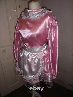 Sissymaidsadult Babyunisexcd/tvfetish Pink Satin & Organza Dress & Apron