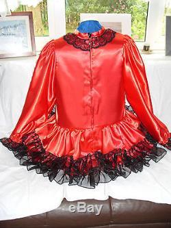 Sissymaidsadult Babyunisexcd/tvfetish Red Satin, Black Organza Dress & Apro