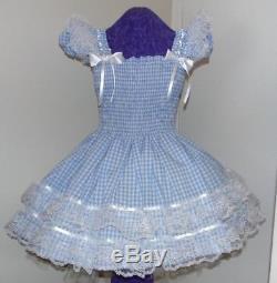 Sundress Gingham Aqua Sissy Lolita Adult Baby Aunt D