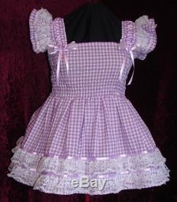 Sundress Gingham Black Sissy Lolita Adult Baby Aunt D