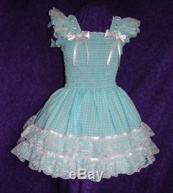 Sundress Gingham Blue Sissy Lolita Adult Baby Aunt D