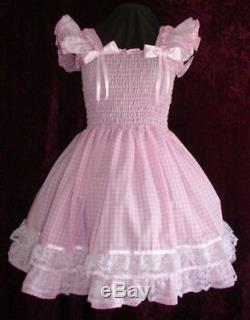 Sundress Gingham Pink Sissy Lolita Adult Baby Aunt D