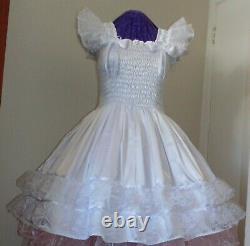 Sundress Satin Yellow Lolita Sissy Adult Baby Dress Aunt D
