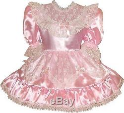Susie Custom Fit SATIN & LACE Adult LG Baby Sissy Dress with BOWS LEANNE