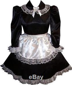 Trisha CUSTOM FIT 2pc Satin French Maid Apron Adult LG Baby Sissy Dress LEANNE