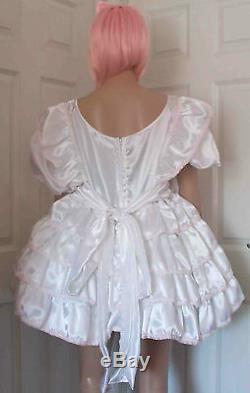 Unisex short adult baby dress, Fancy dress sissy 4 tier dress lolita cosplay