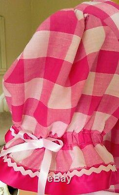 Unisex short gingham adult baby dress sissy fancy dress lolita cosplay