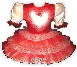 Vanessa Custom Fit RED Satin Tulle HEART Adult Baby LG Sissy Dress LEANNE