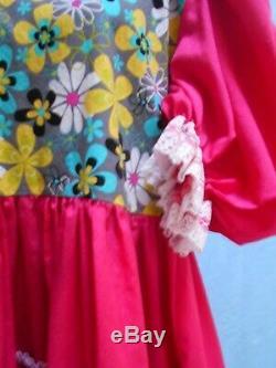 Vintage Pink Cotton Adult Little Girl Baby Sissy Dress Peter Pan Collar Ruffles