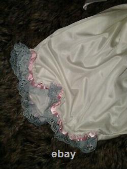 Vtg Silky Nylon Lacy Adult Baby Zip Romper Sissy Playsuit Pantaloons Frilly 52