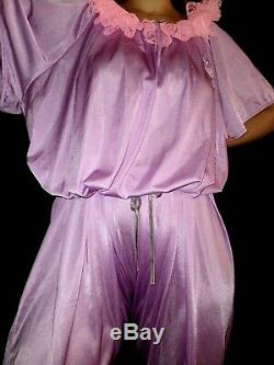 Vtg Silky Sissy Lacy Bows Nylon Adult Baby Romper Jumper Pajamas Nighty Plus Os