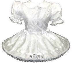 Whitney Custom Fit White Sparkly TAFFETA Adult Baby LG Sissy Dress LEANNE