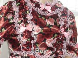 XL Sissy Adult Baby Deep Rose Satin & lace Frilly Dress cosplay lola CD TV 50